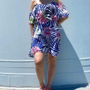 vestido corto palmeras azul