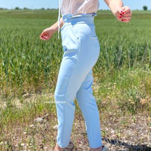 pantalon paperbag azul