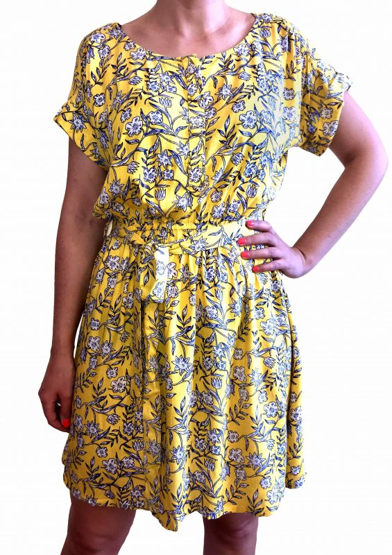 vestido corto amarillo flores