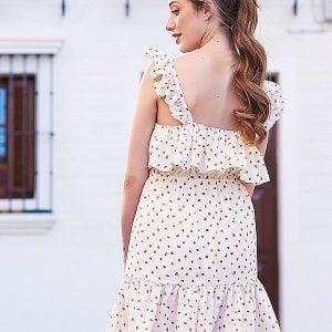 vestido corto beige volantes
