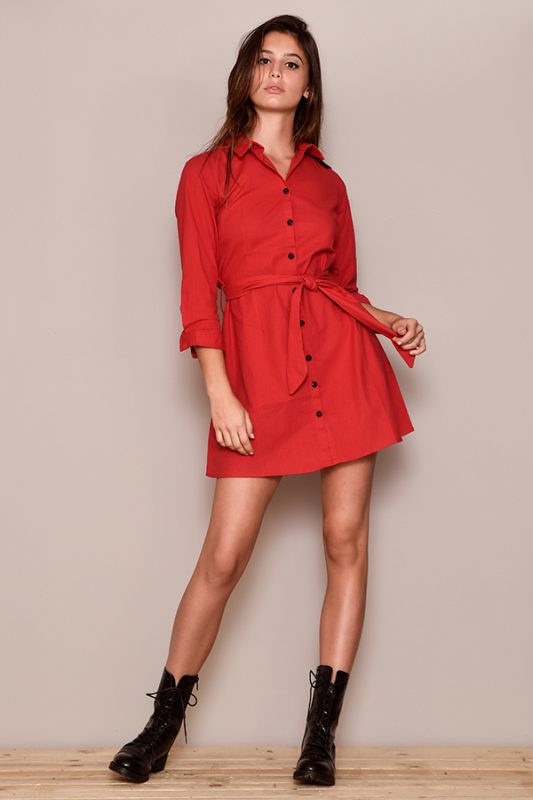 vestido corto lino rojo