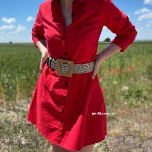 vestido lino rojo