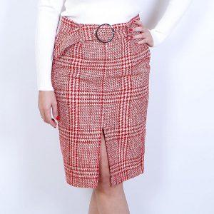 falda tweed tubo roja