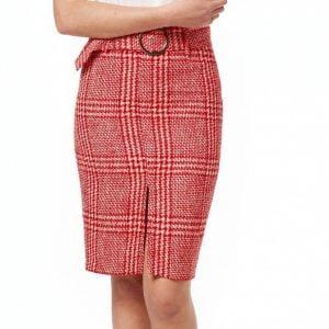 falda tubo tweed roja