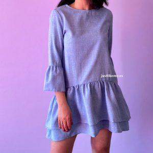 vestido corto volantes azul