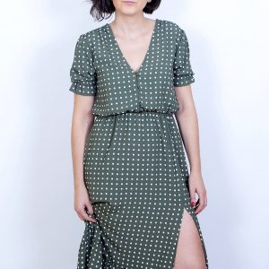 vestido largo verde topos