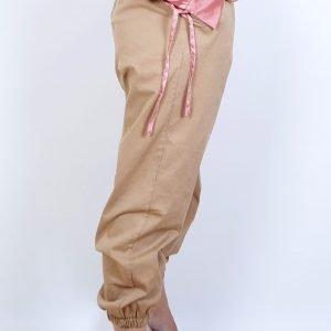pantalon ancho bajo goma camel