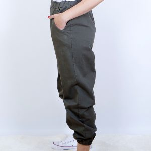 pantalon ancho bajo goma kaki