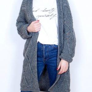 chaqueta kaki larga tricot