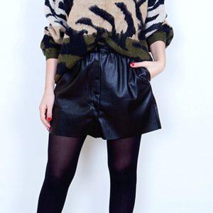 minifalda polipiel negra botones