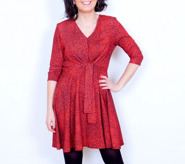 vestido corto leopardo rojo