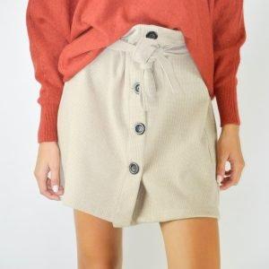 falda botones beige