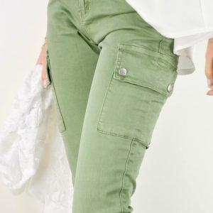 pantalon cargo elastico kaki