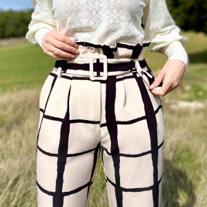 pantalon paperbag beige