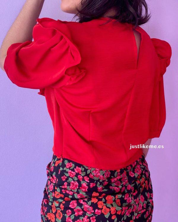 blusa corta volantes roja