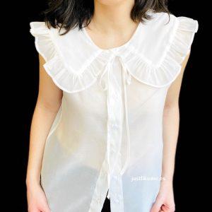 blusa cuello bebe blanca