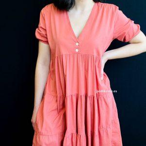 vestido algodon coral