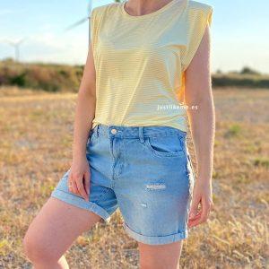 camiseta hombreras rayas amarillo