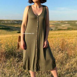 vestido abotonado sin mangas azul