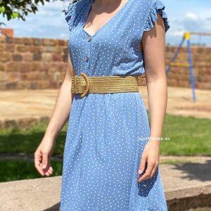 vestido corto lunares azul claro