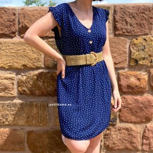 vestido corto lunares azul marino