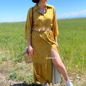 vestido largo estampado ocre