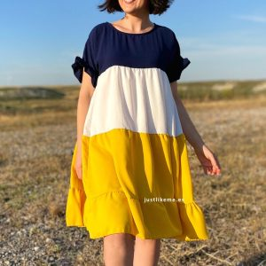 vestido maxi tricolor