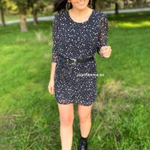vestido fruncido estampado negro