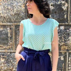 blusa lunares volantes turquesa