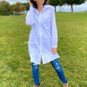 camisa larga volante blanca