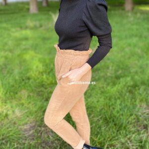 pantalon pana paperbag