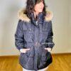 abrigo plumas capucha negro