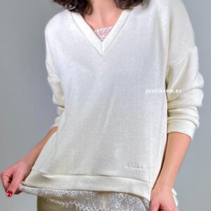 conjunto pijama puntilla beige