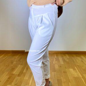 pantalon pana fina blanco