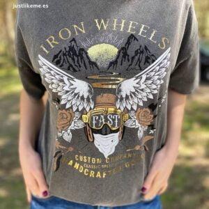 camiseta estampado alas gris desgastado